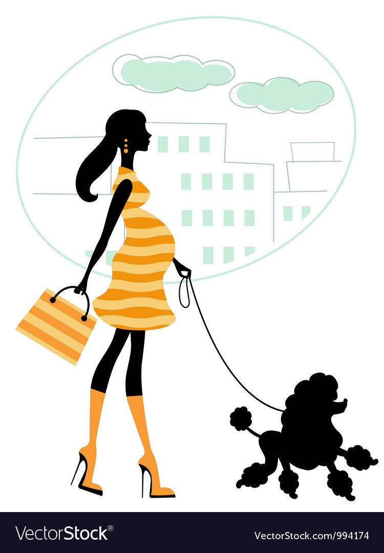 Pregnant woman walking with poodle vector