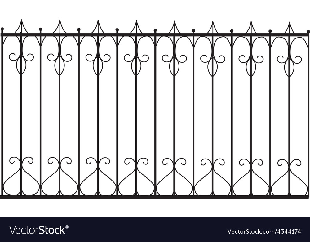 Silhouette of old street fence vector