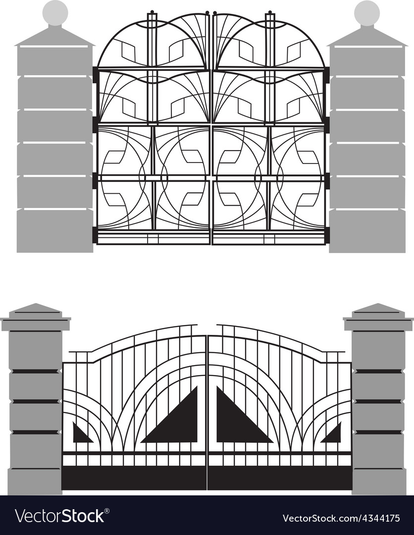 Silhouette of old street gates vector