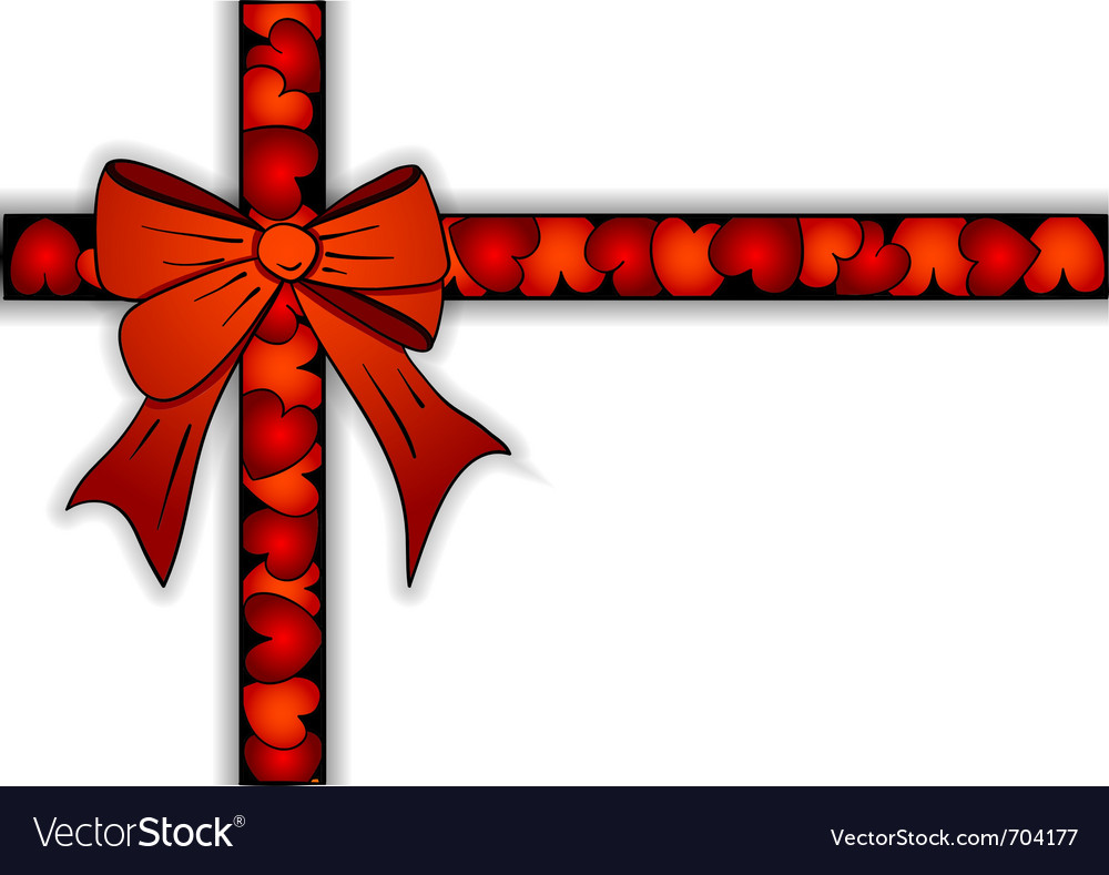 Red ribbon of the hearts vector