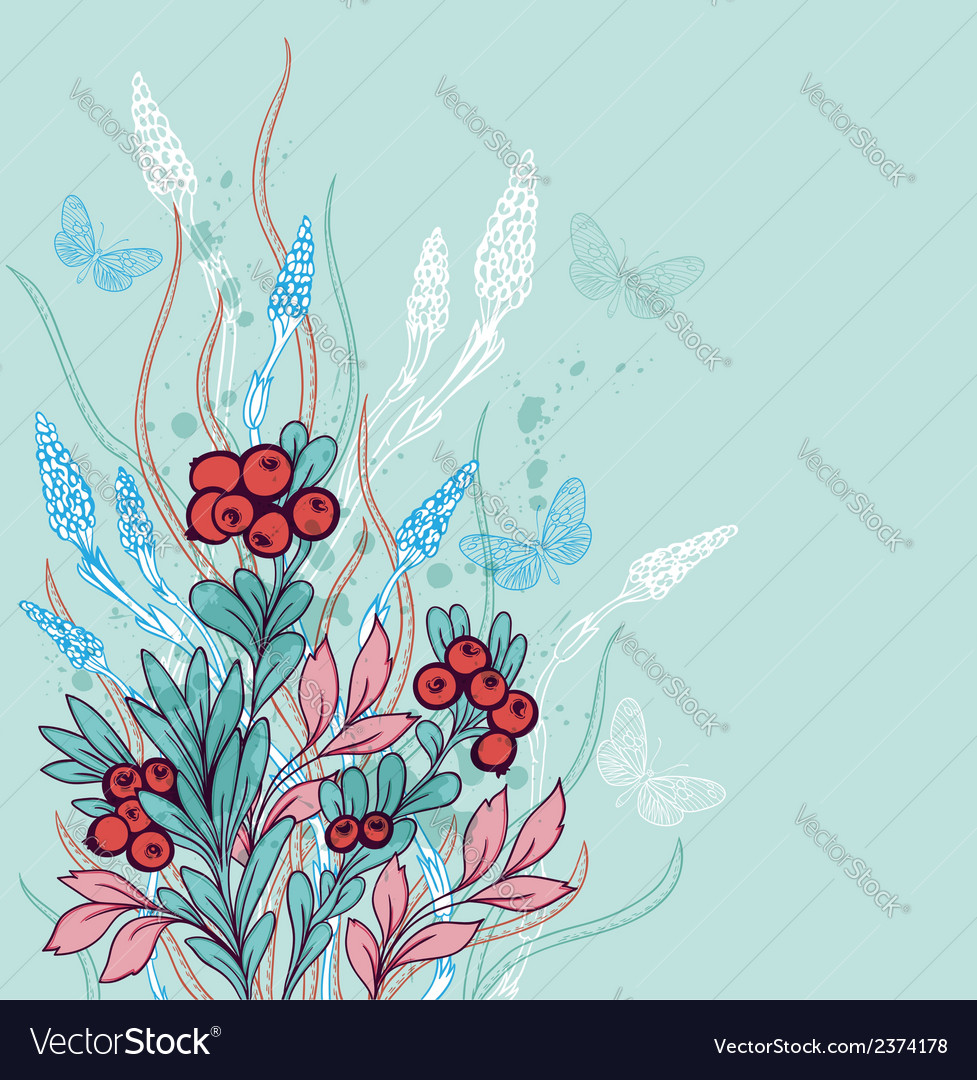Green decorative floral background with berries vector
