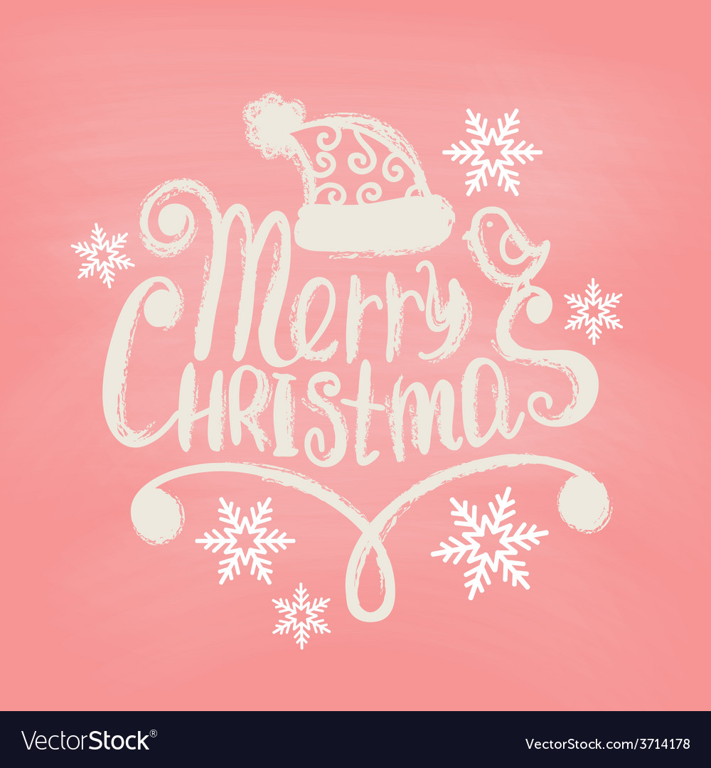 Hand drawn merry christmas decoration of vector