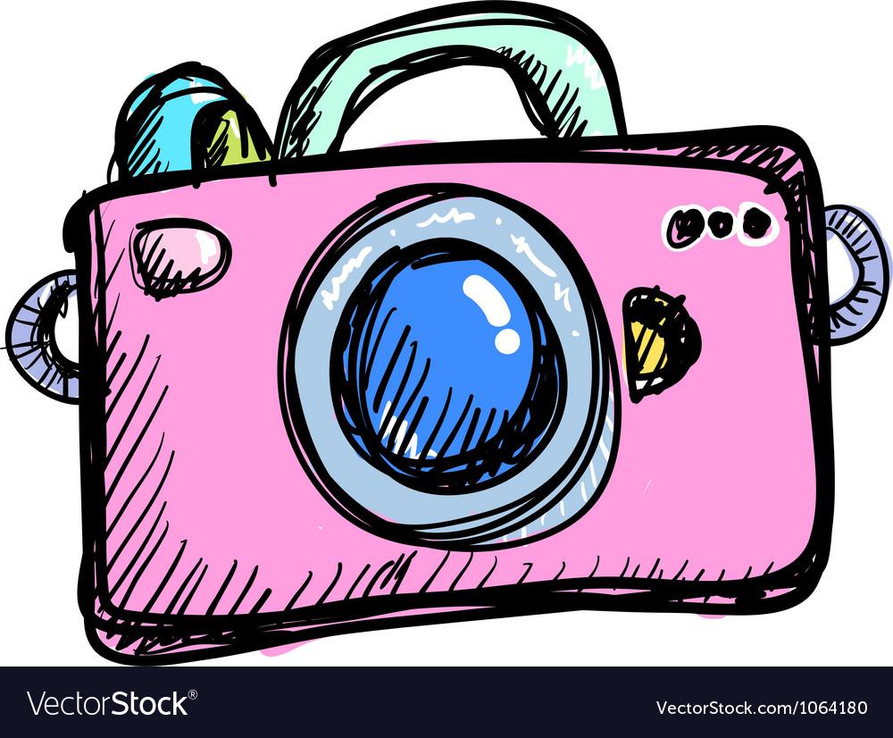 Doodle digital camera vector