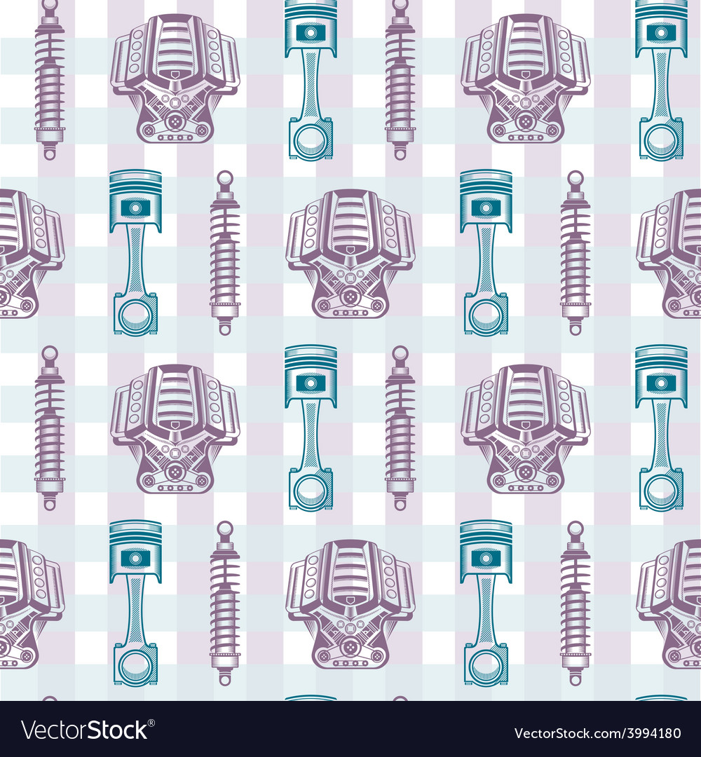 Seamless pattern parts sports car vector