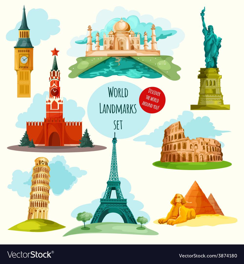 World landmarks set vector