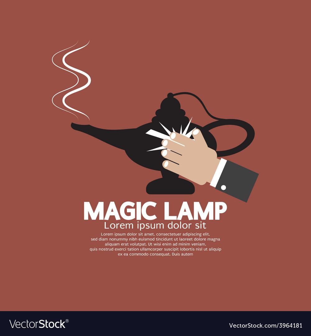 Hand wiping the magic lamp vector