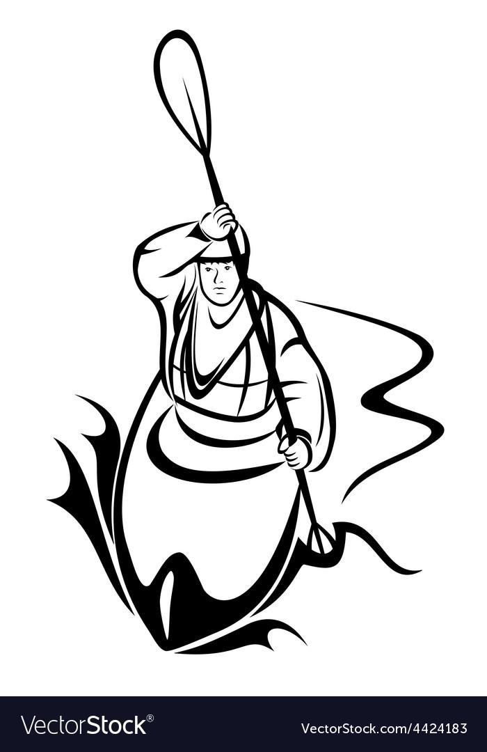 Kayaking man vector
