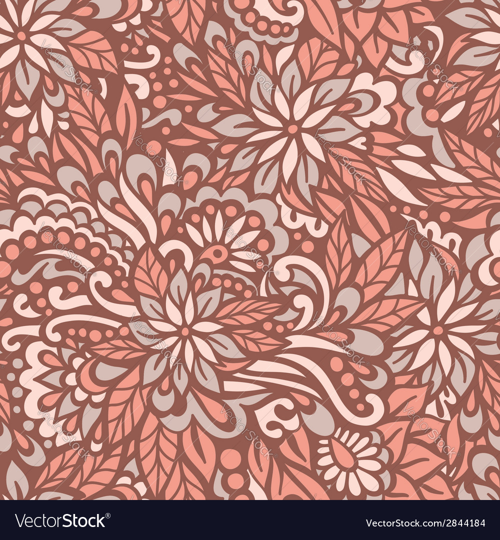 Autumn flowers seamless decorative pattern vector