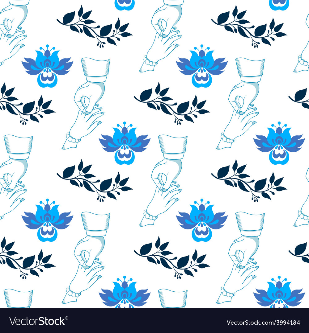 Seamless wedding pattern with blue flowers vector