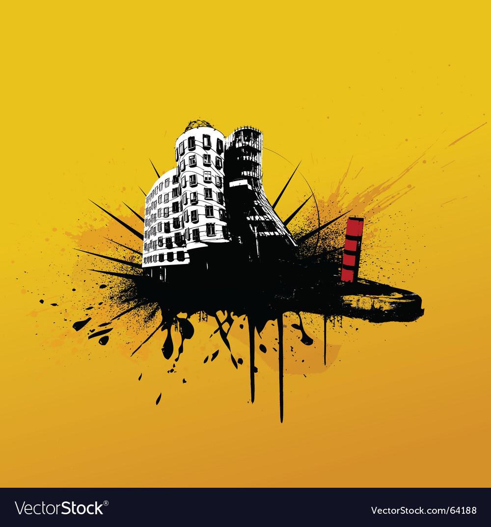 Grunge buildings vector