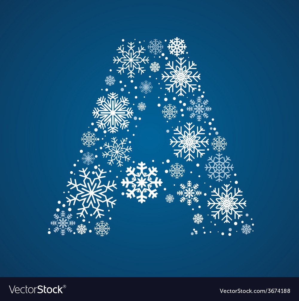 Letter a font frosty snowflakes vector