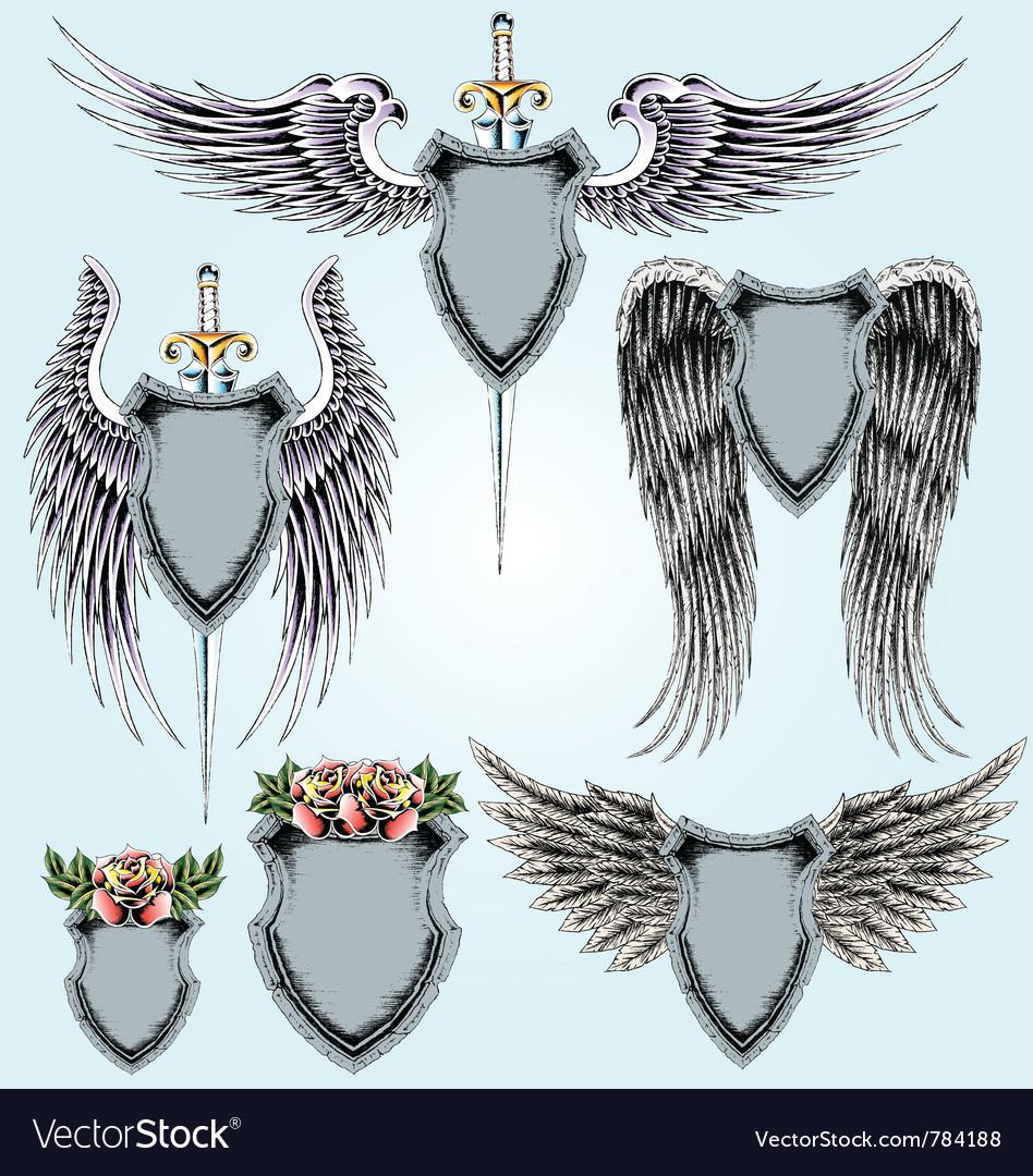 Royal emblem shield set vector