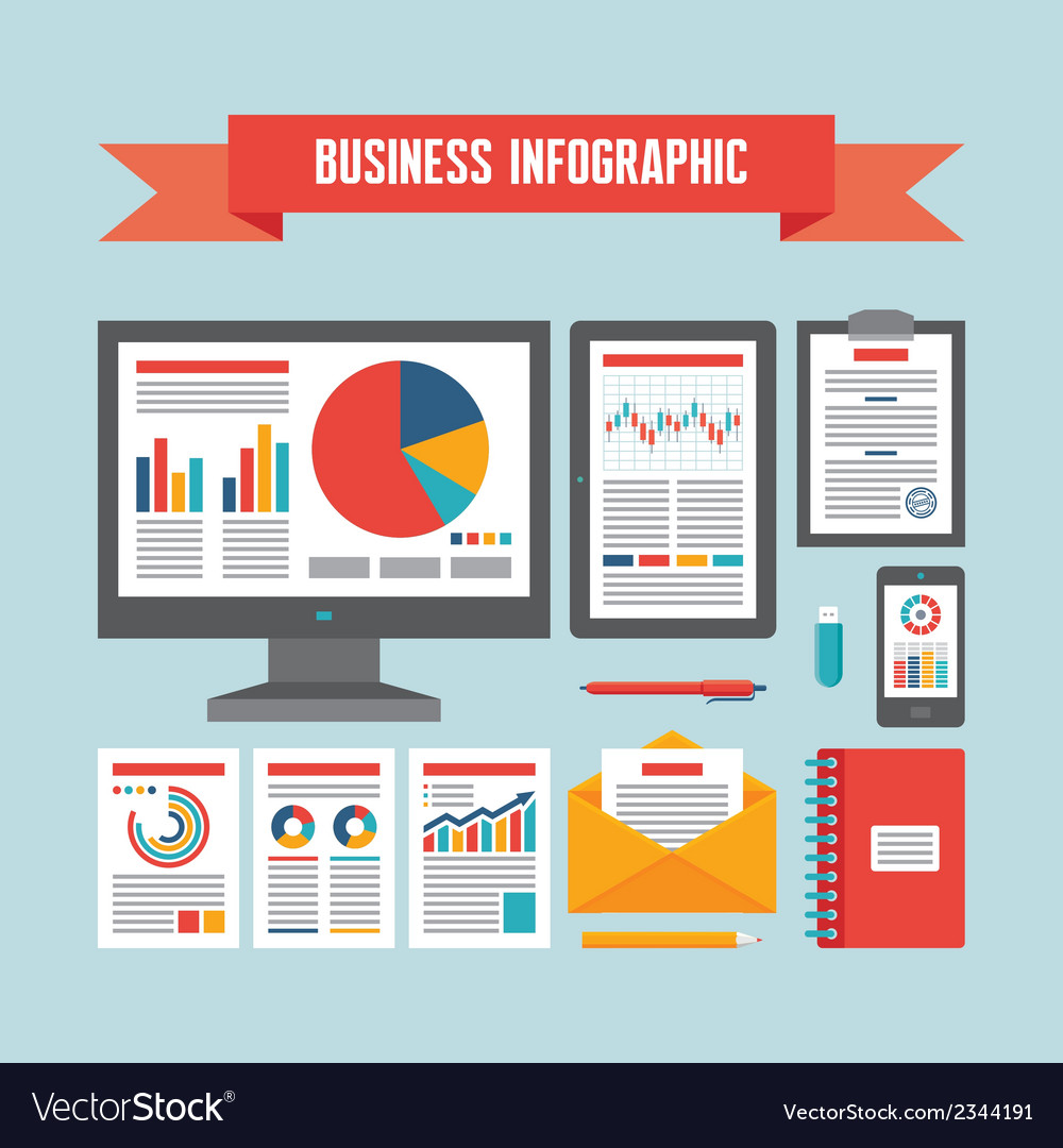 Business infographic documents - concept vector