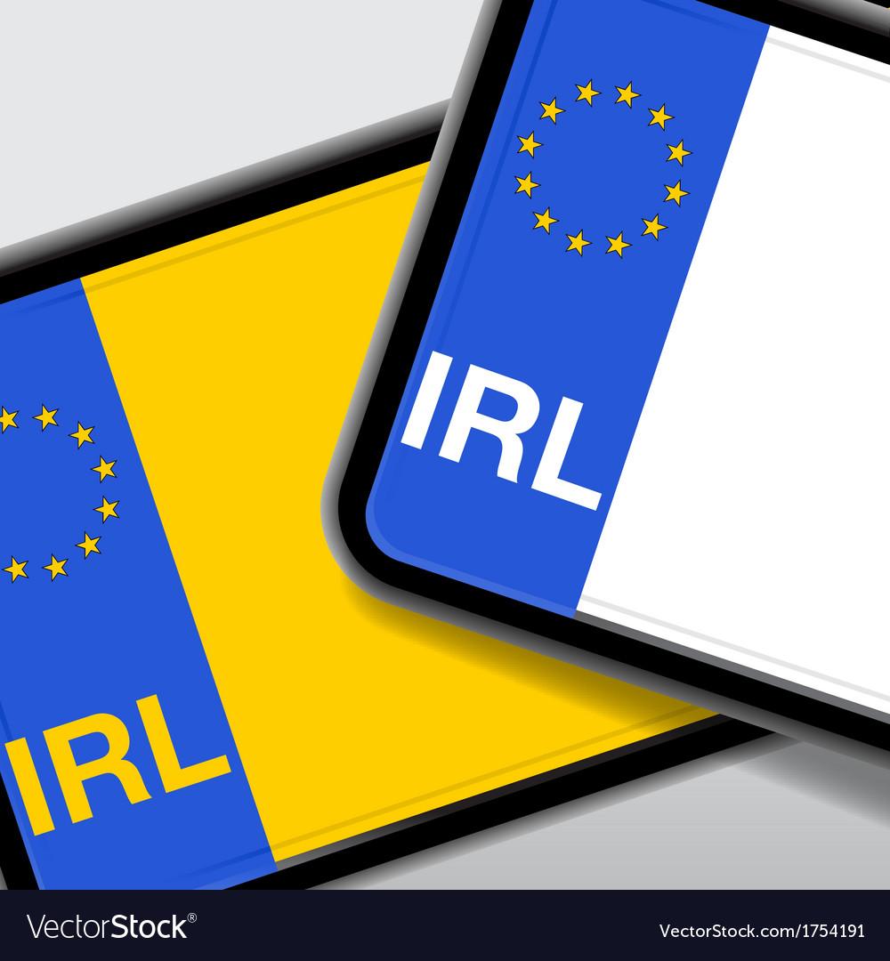 Ireland number plate vector