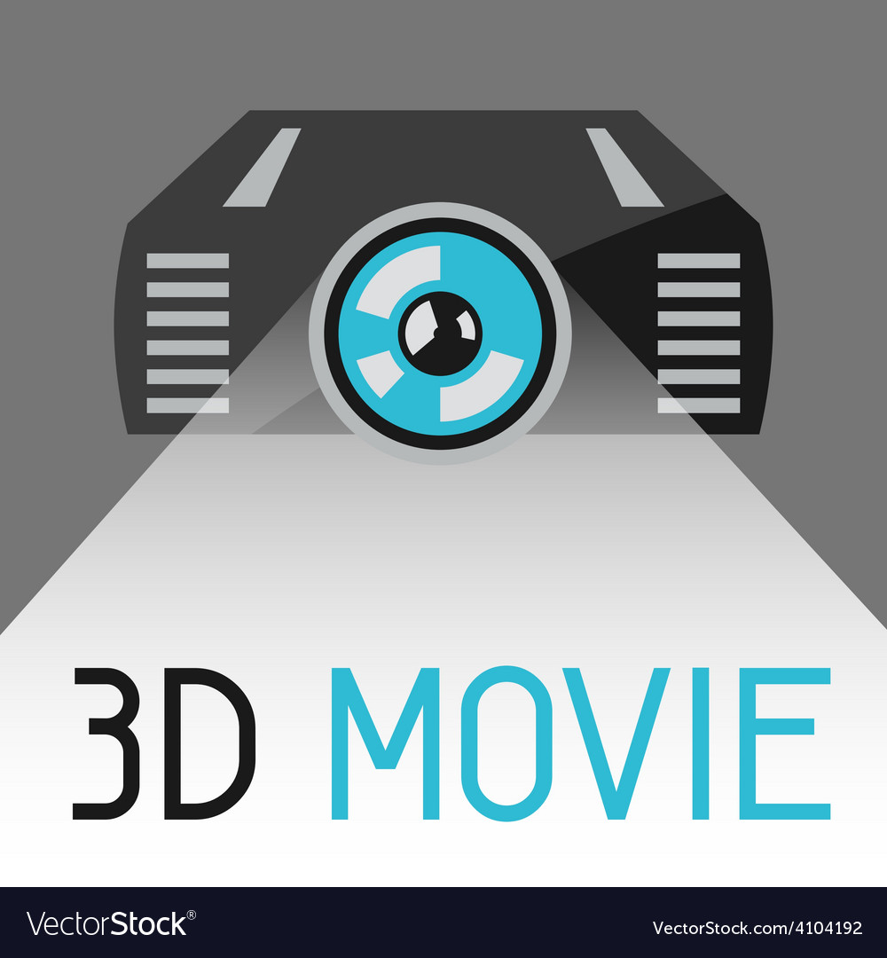 Background with 3d movie projector vector