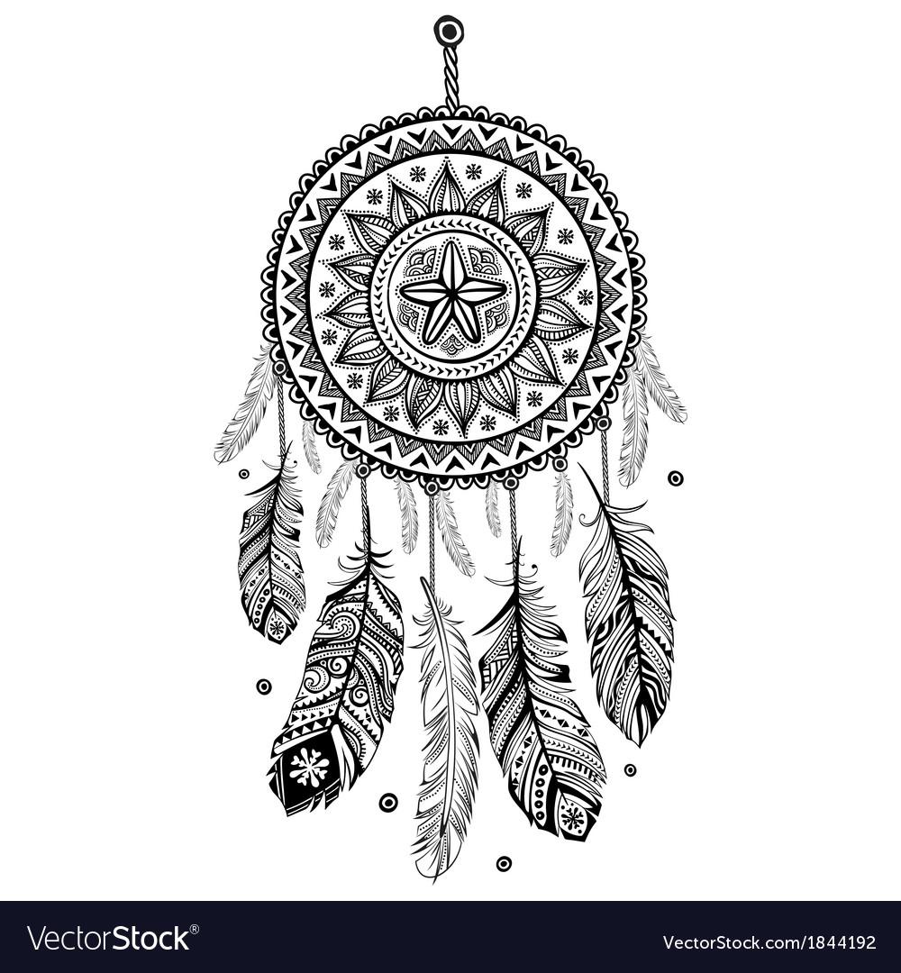 Ethnic american indian dream catcher vector