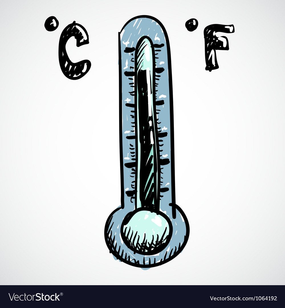 Thermometer doodle style vector