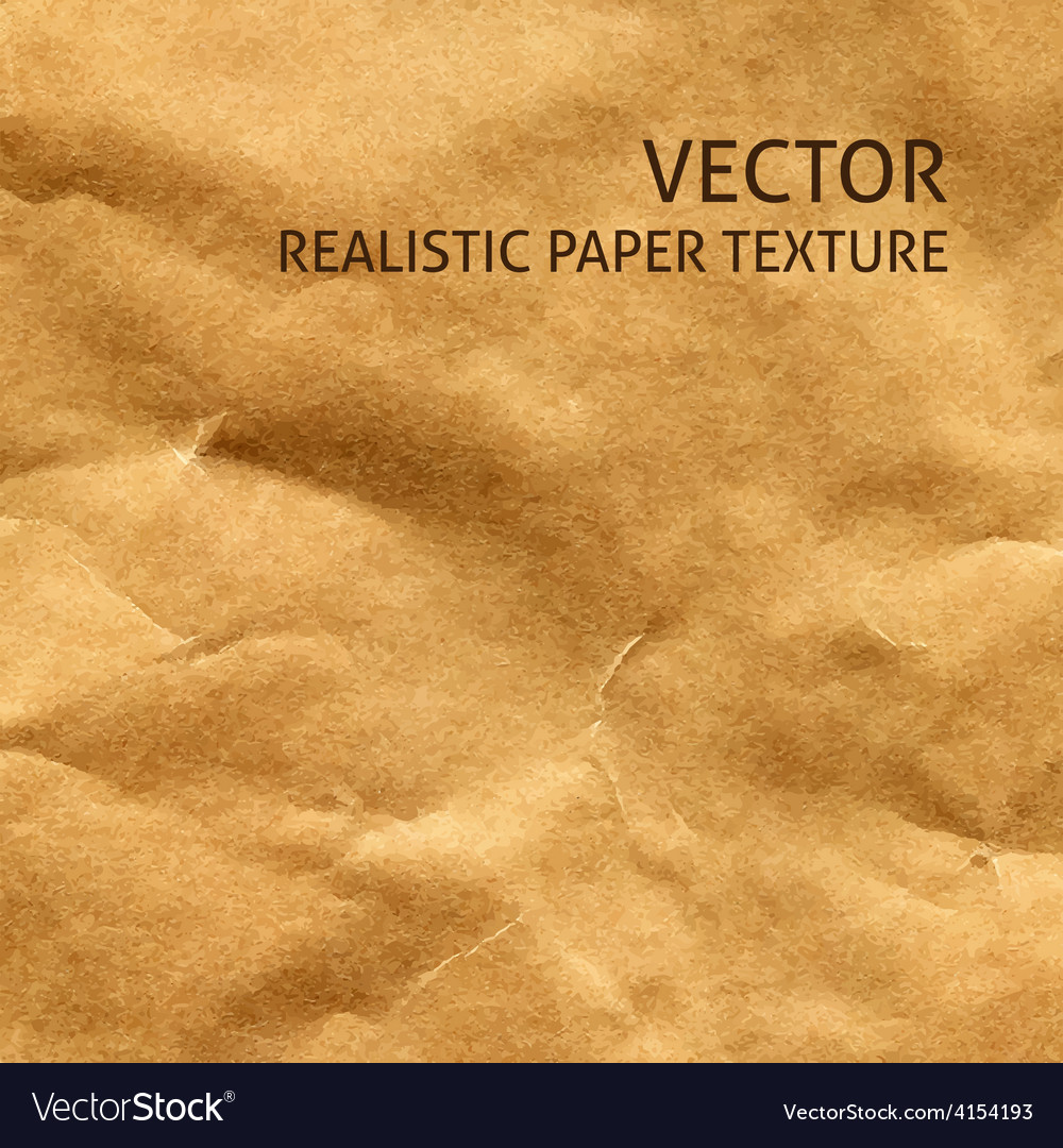 Crumpled craft paper background vector