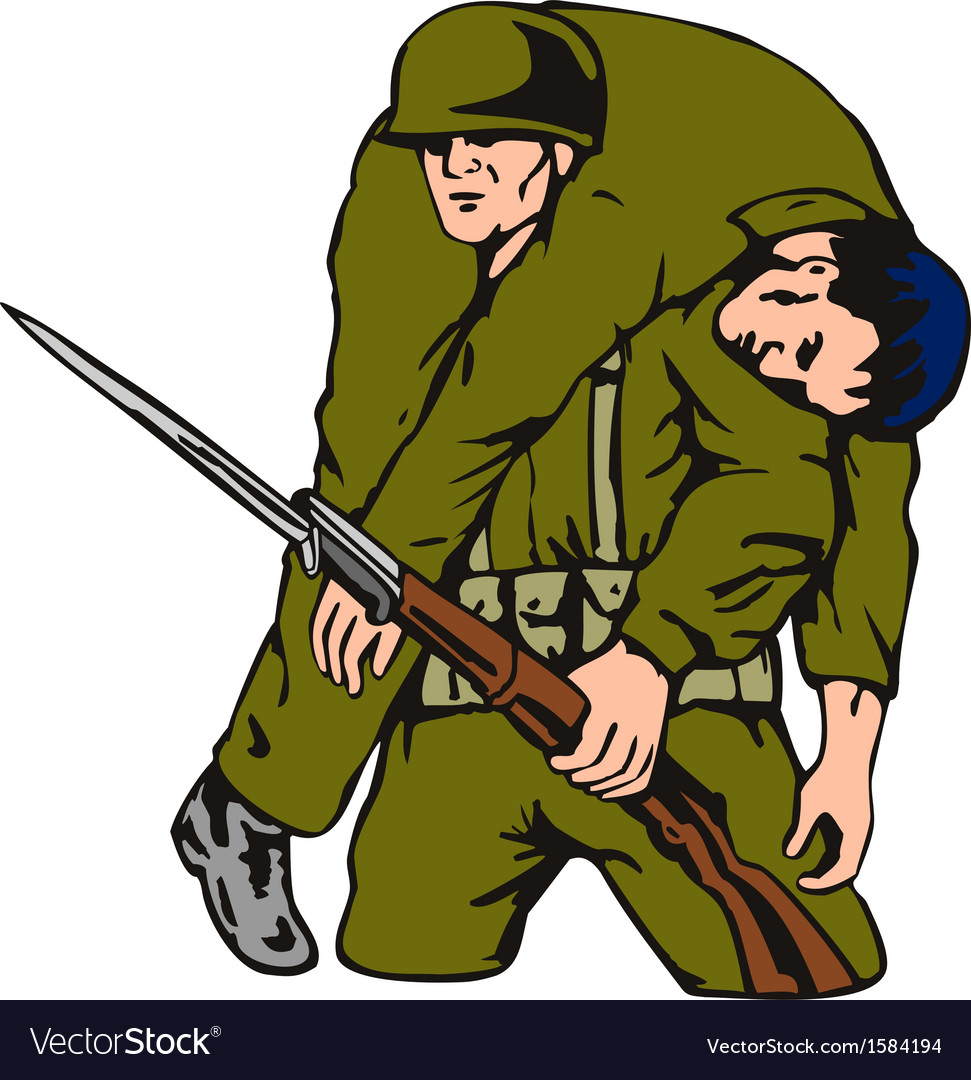 Soldier carrying wounded comrade vector