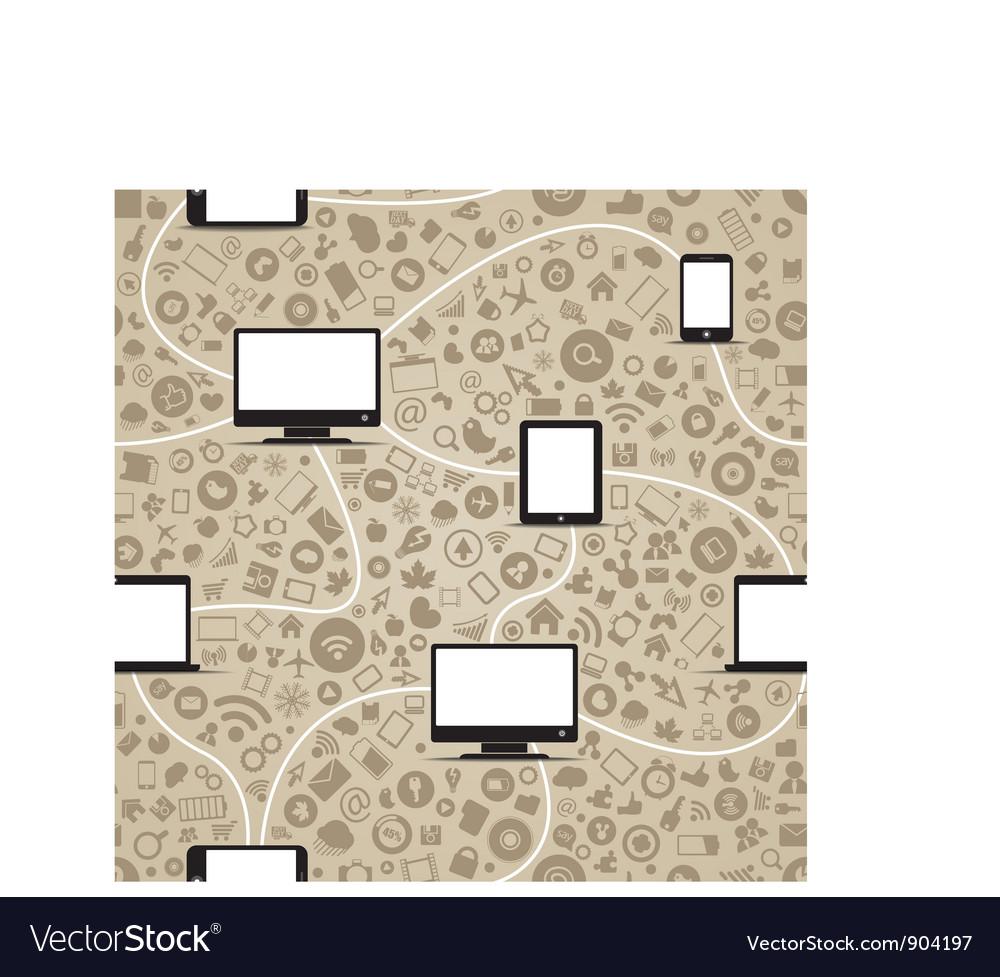 Modern gadgets and media icons vector