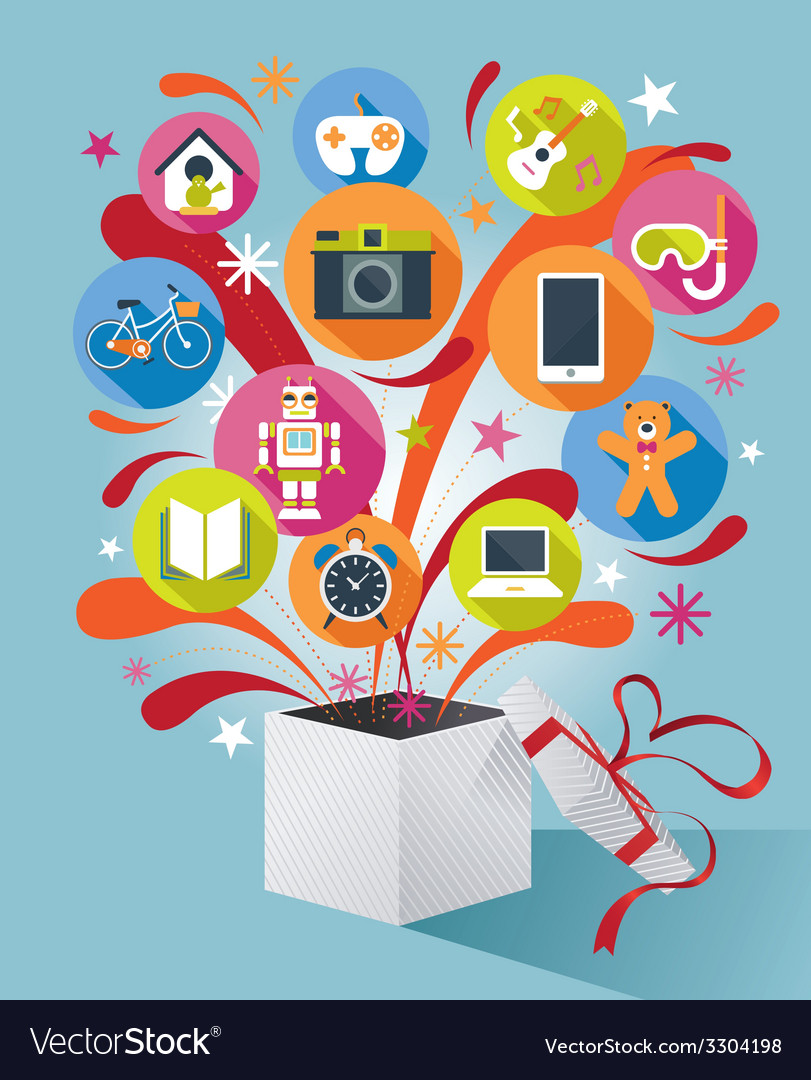 Gift box with gift icons vector