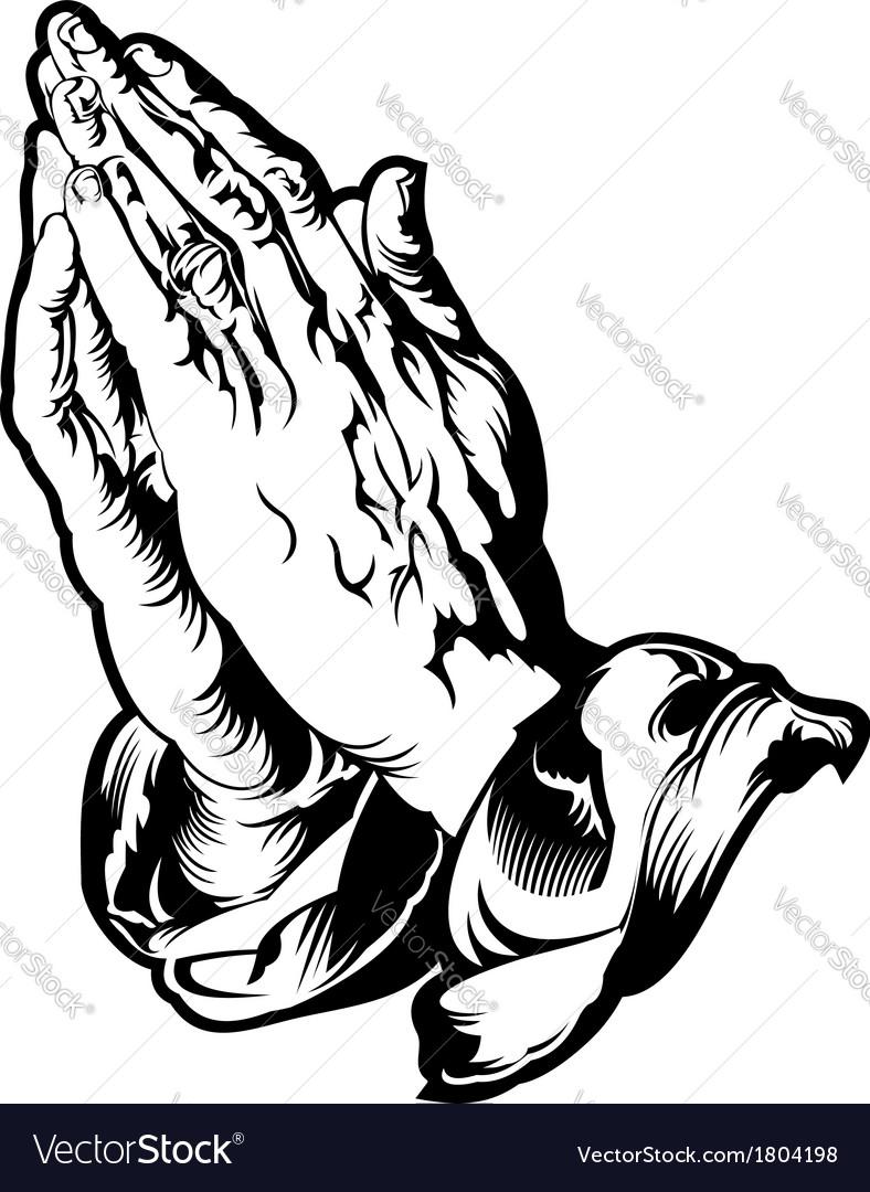 Praying hands tattoo vector