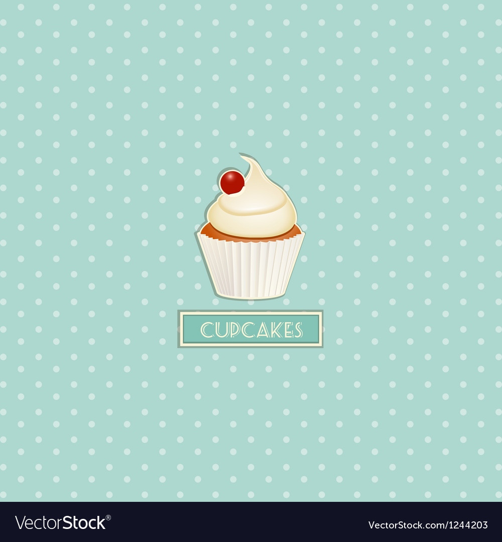 Cupcake and polka dot background vector