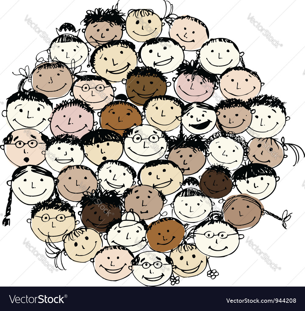 Crowd of funny peoples sketch for your design vector