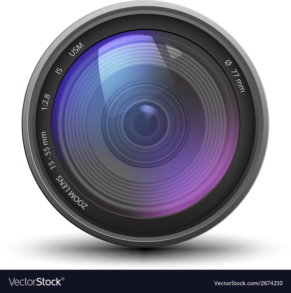 Realistic of camera zoom lens vector