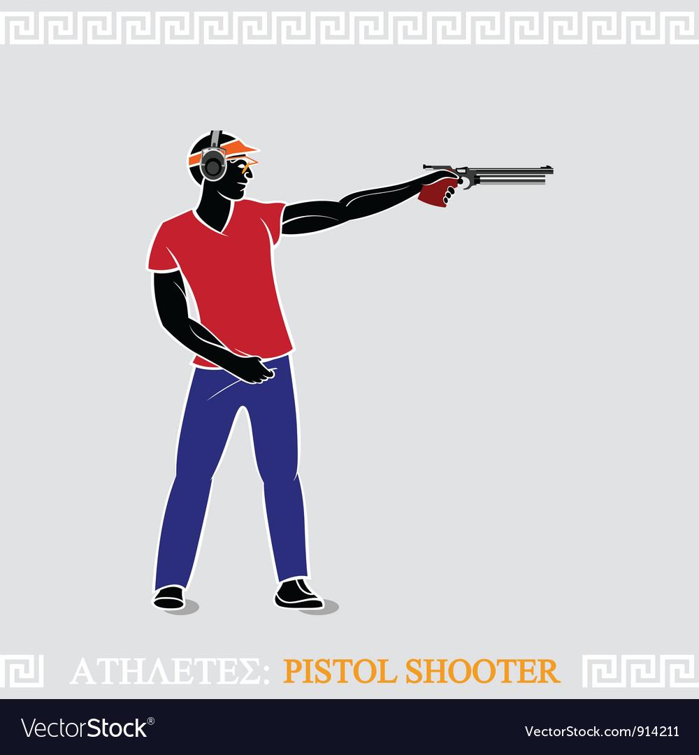 Athlete pistol shooter vector