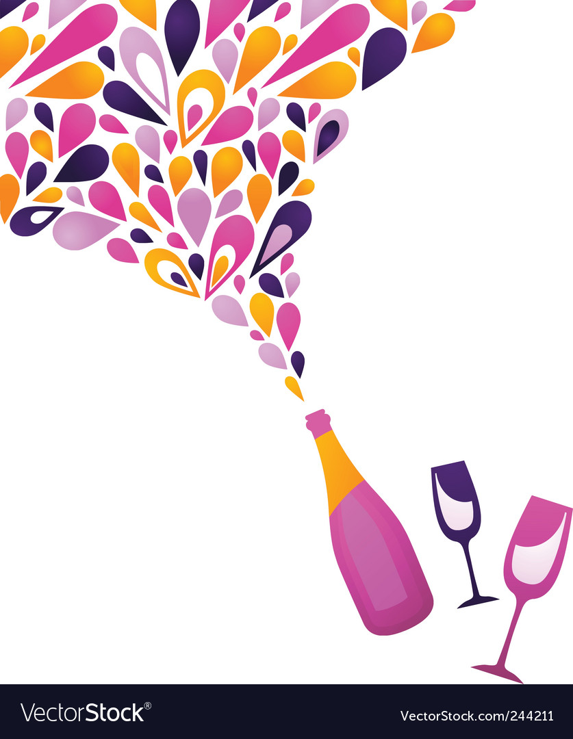 Champagne opening vector