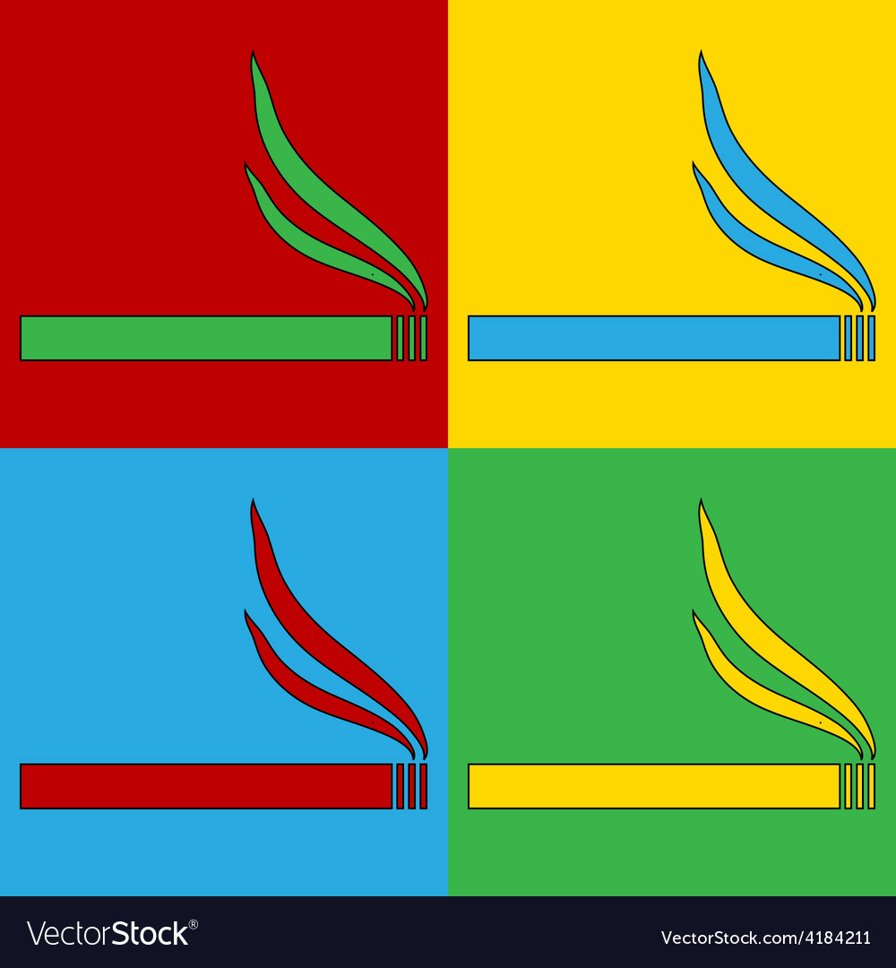 Pop art cigarette icons vector