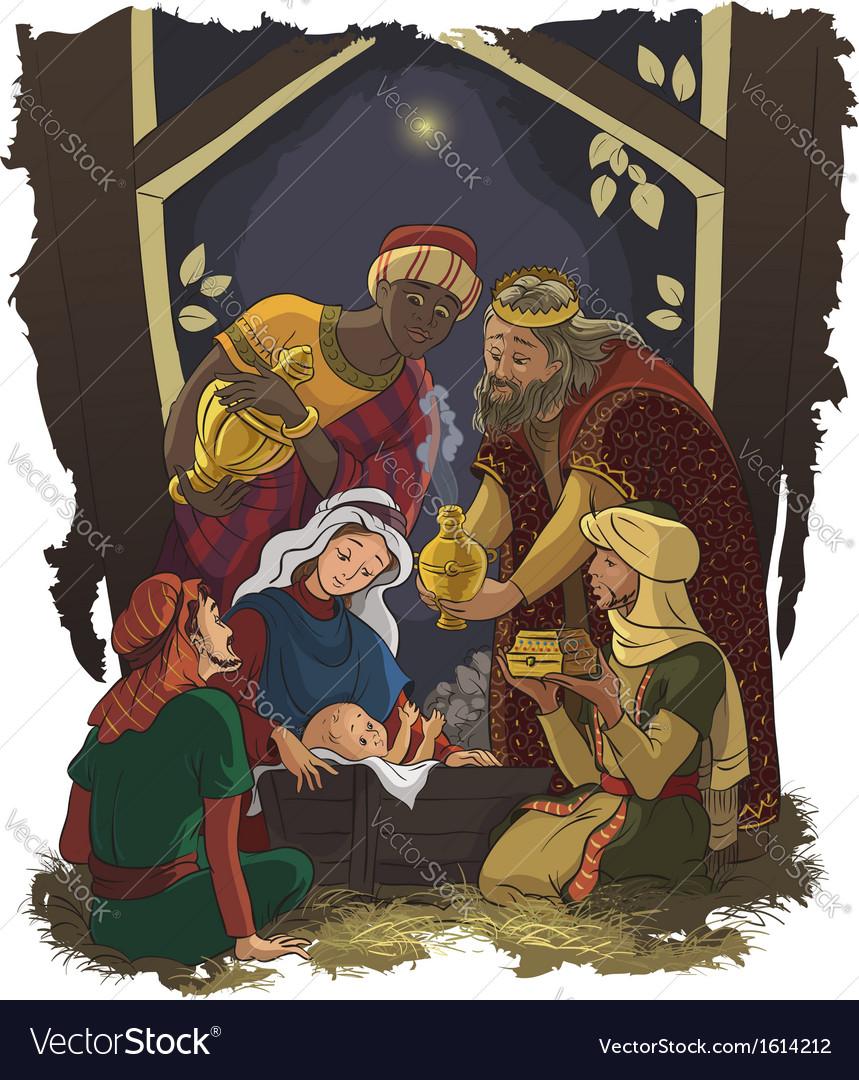 Nativity scene jesus mary joseph and three kings vector