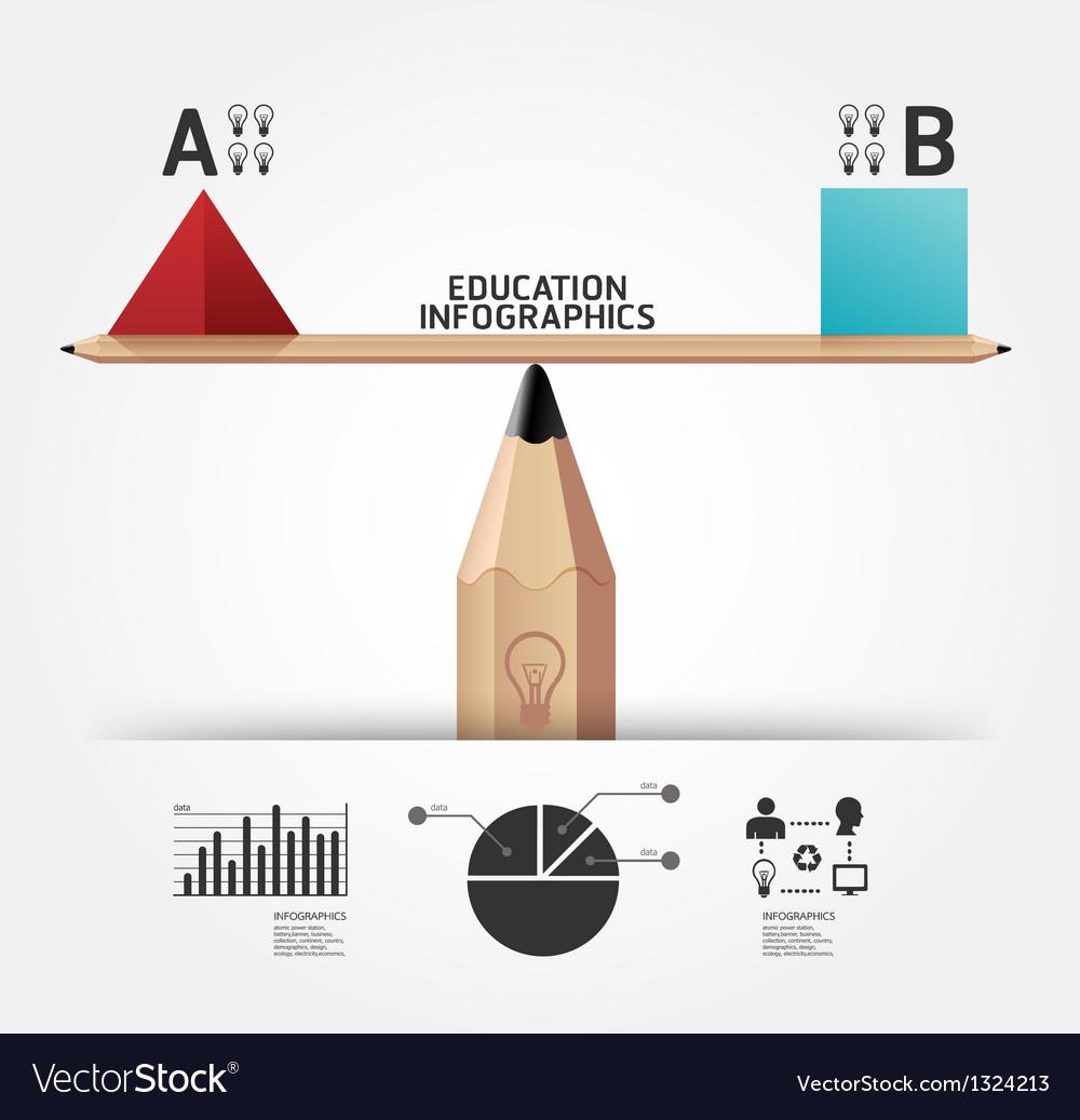 Creative infographics education pencil concept vector