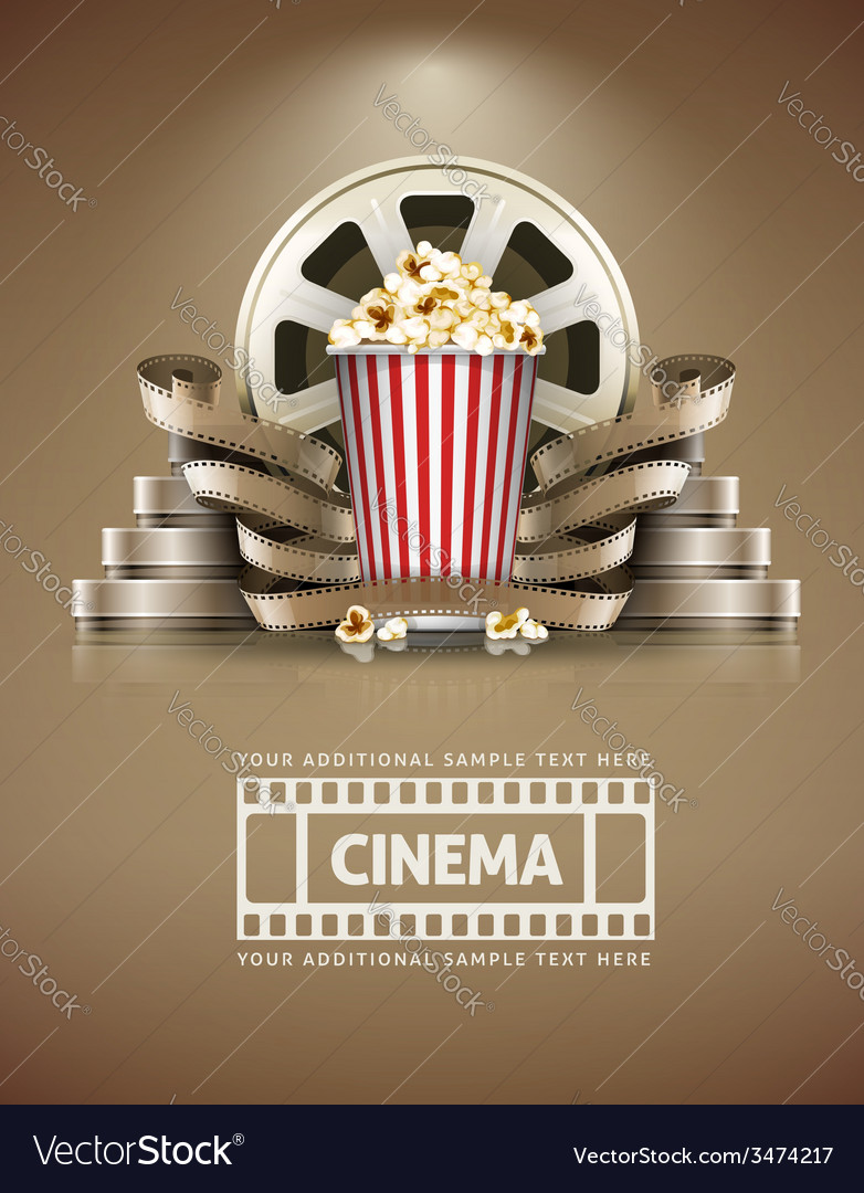 Cinema concept with popcorn vector