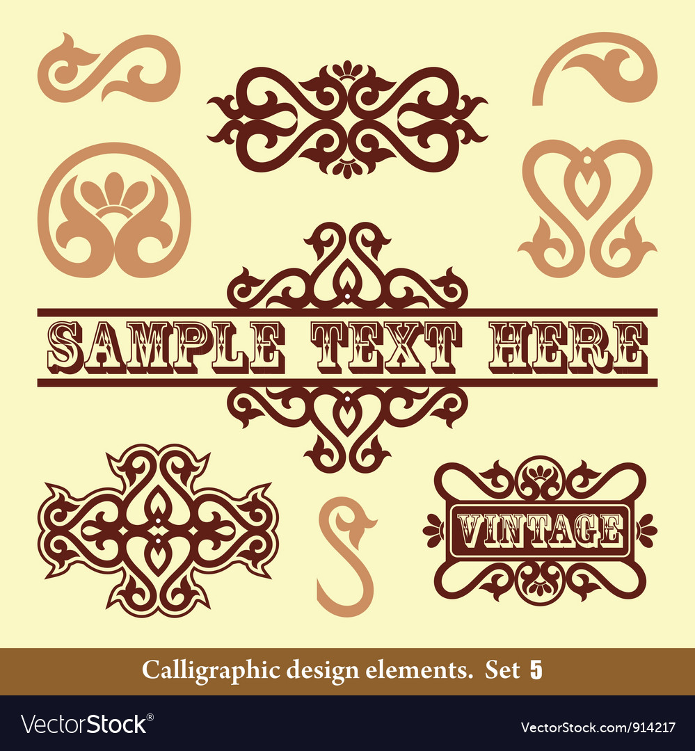 Set calligraphic design vector