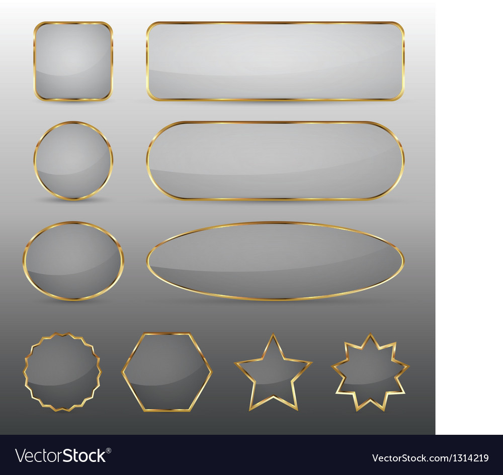 Blank glass buttons with gold frame vector