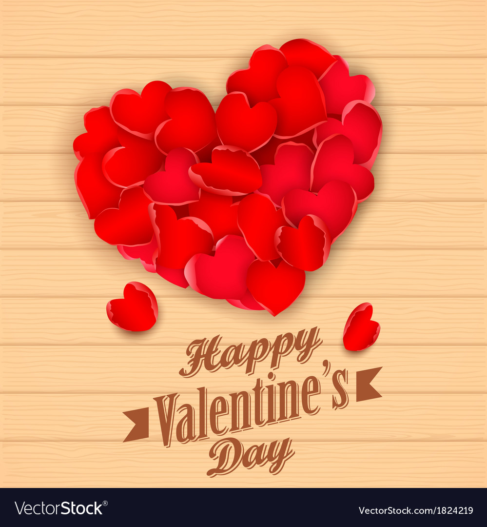 Happy valentines day with rose petal heart vector