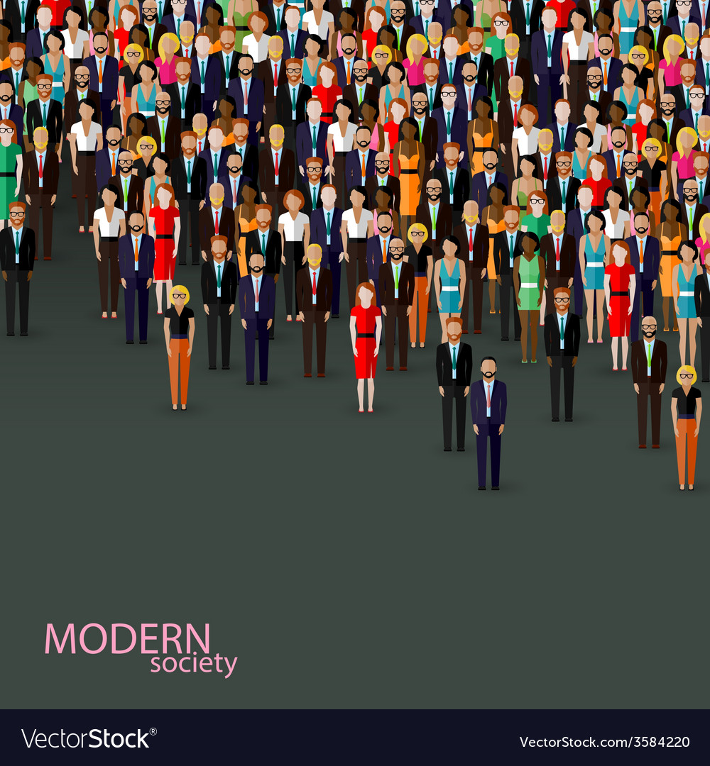 Flat of business or politics community crowd of vector