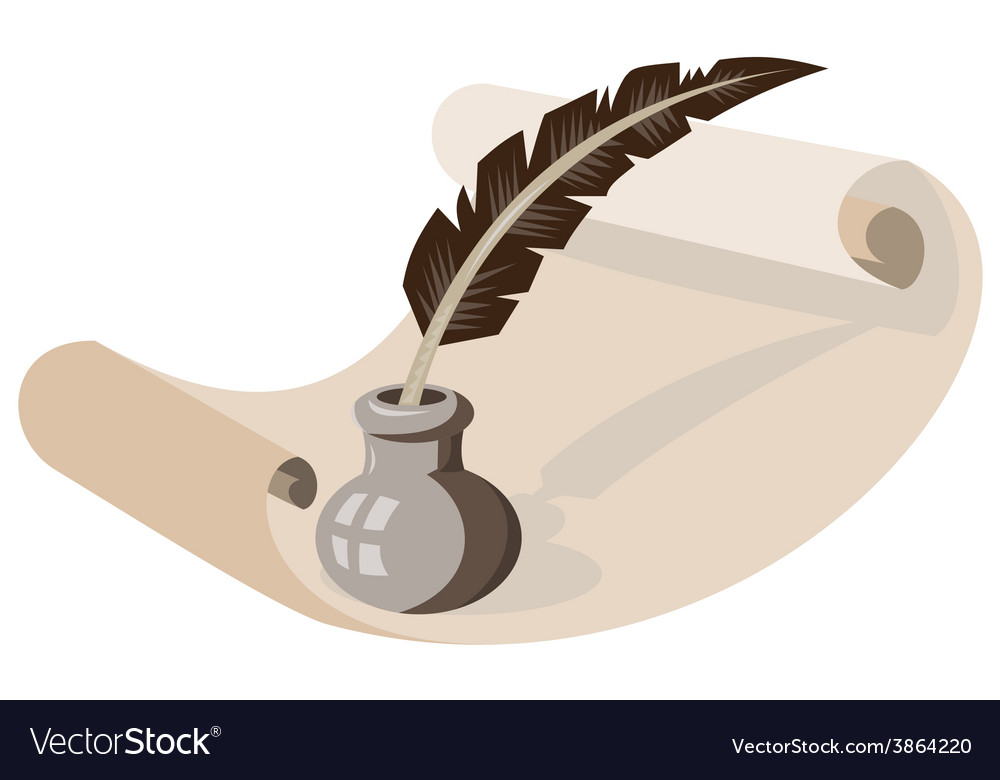 Quill pen ink well paper scroll retro vector