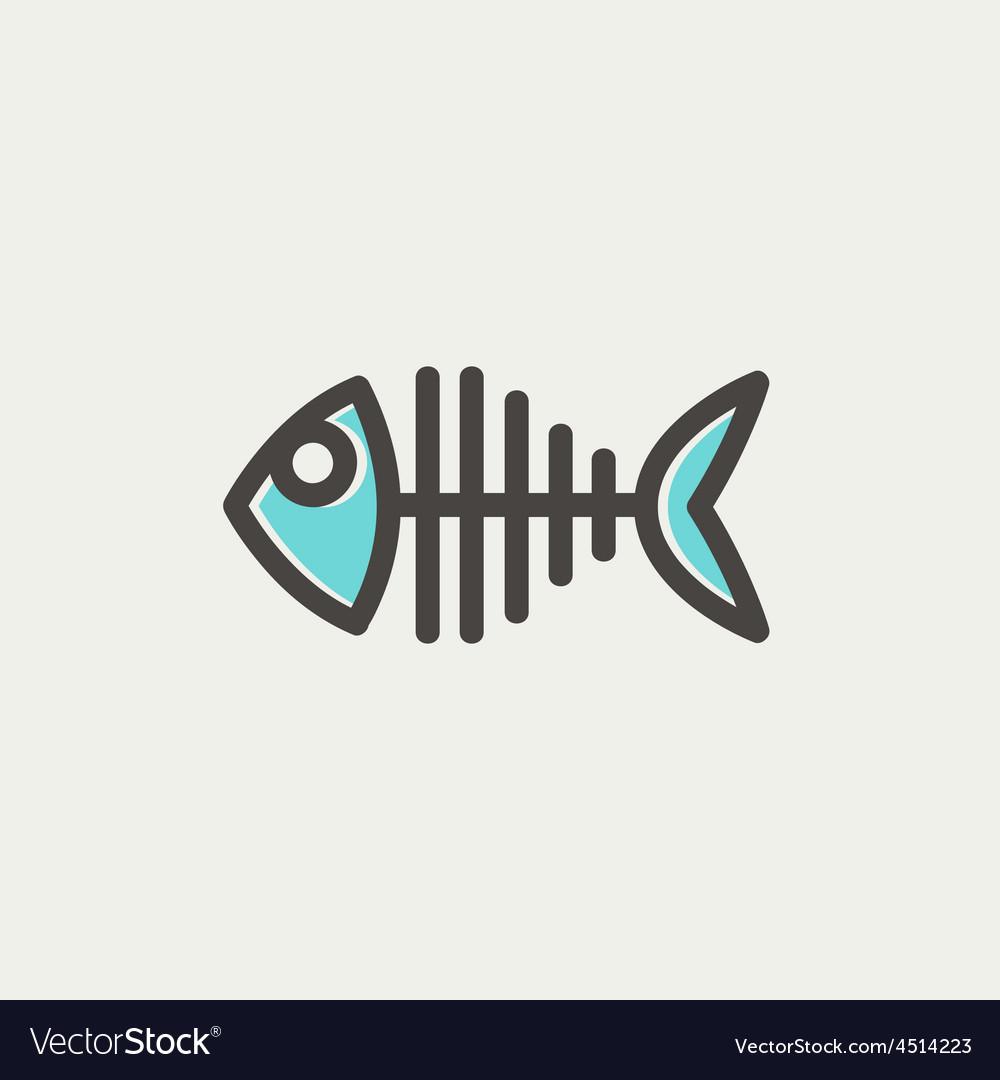 Fish skeleton thin line icon vector