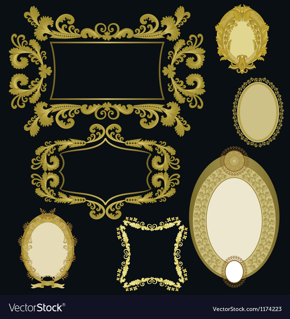 Seven frames golden color vector