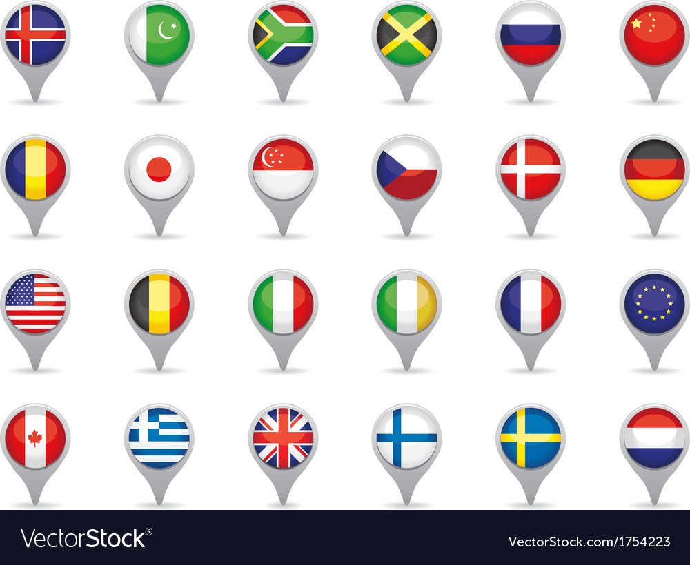 World flag pointers vector