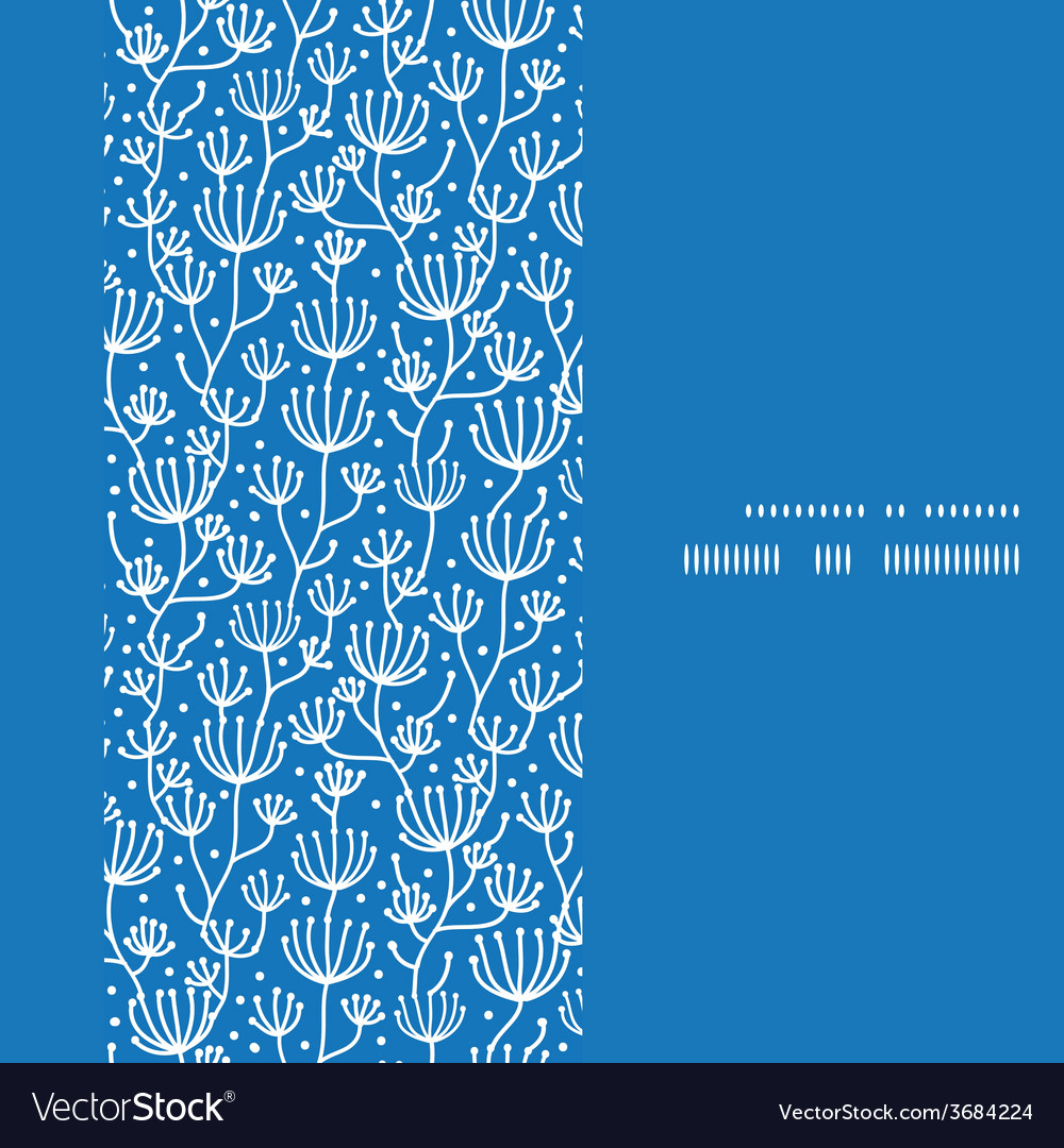 Blue white lineart plants vertical frame seamless vector