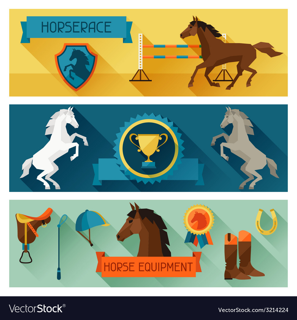 Horizontal banners with horse equipment in flat vector