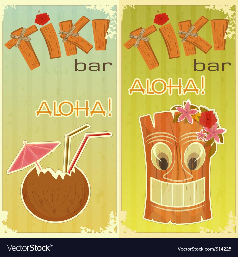 Tiki bars hawaiian vector