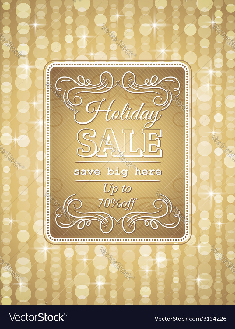Golden christmas background and label with sale of vector