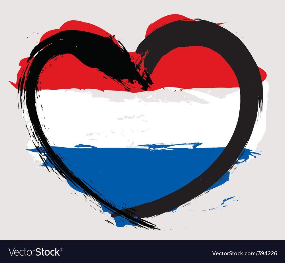 Nether land heart shape flag vector