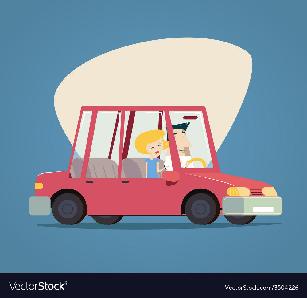Retro cartoon car happy male and female characters vector