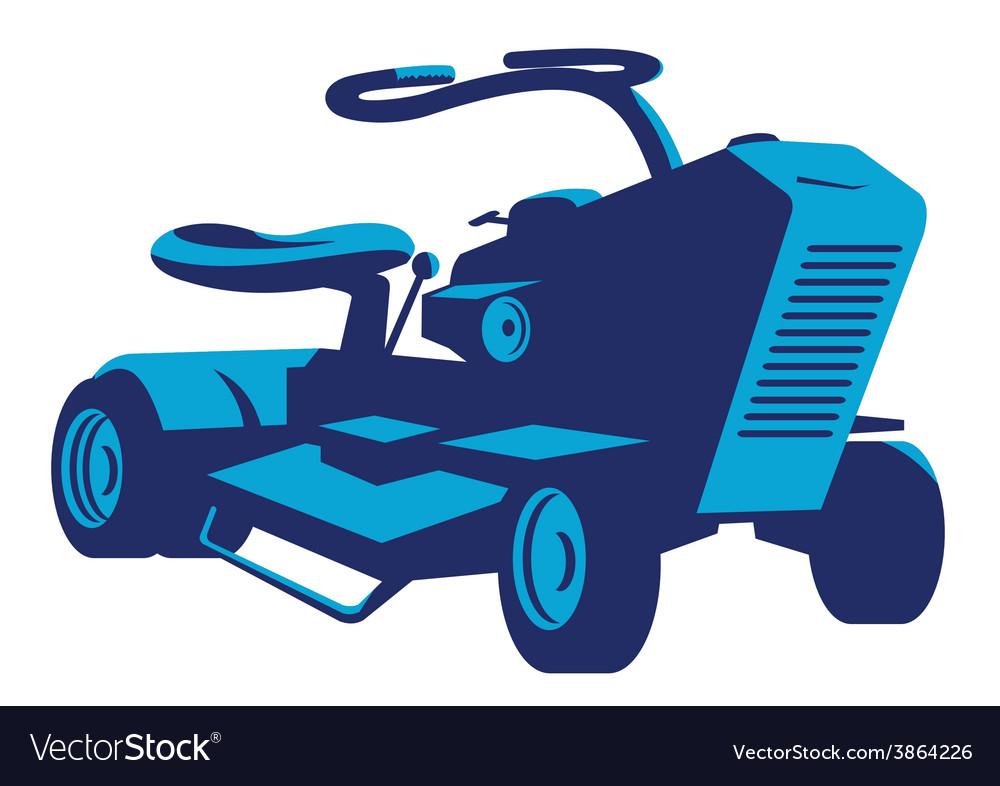 Vintage ride on lawn mower retro vector